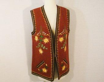 Ethnic Vintage Embroidered Boho Hippie Floral Vest Top L
