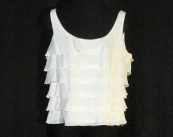 800fb053c4c03e White Silk Blouse Tiered Ruffles Liz Claiborne Chic Summer Top L XL