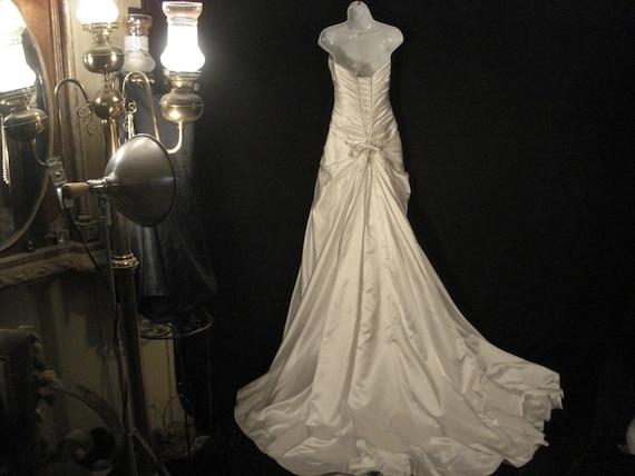 White Satin Strapless Wedding Gown Maggie Sottero