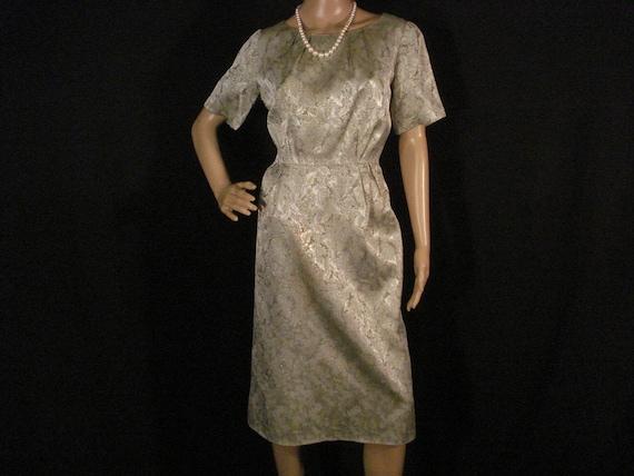 Chic Vintage Dress Metal Zipper Silver Gray Green