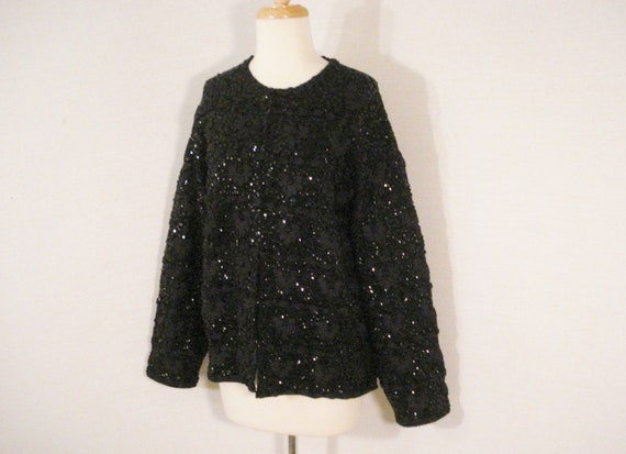 Jones New York Luxury Black Lace Sequins Evening Wrap Scarf Shawl NEW OS