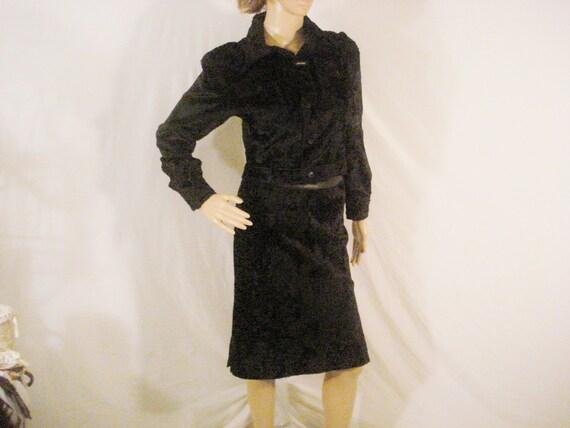 Designer Karl Kani Black 2 Piece Suit Skirt Jacket