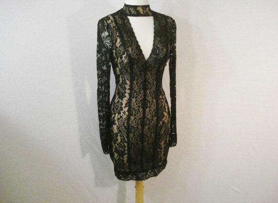 9222b548b3ef4 Illusion de BeBe noir moulante équipé dentelle Sexy robe