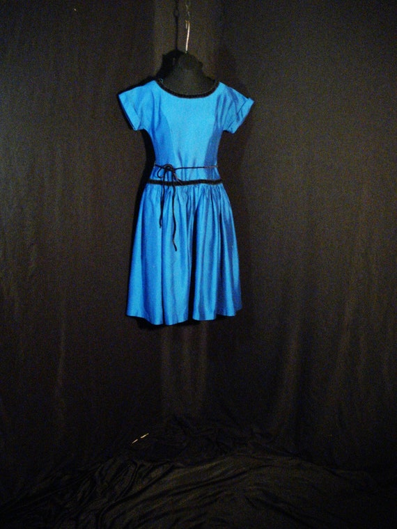 1950s Vintage Dress Royal Blue Teena Paige Rockabi