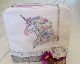 Unique-Gift-for-Girlfriend, Gift-for-Girlfriend, Gifts-for-Girls, Unique embroidered Gift for Women, Unique Make Up Bag, Pastel-Unicorn