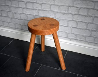 Hand Made Solid Oak 3 Legged Stool, Oak Seating, Stool, Traditional Stool,  Three Leg Stool, Oak Stool, Small Stool, Milking Stool, Chair