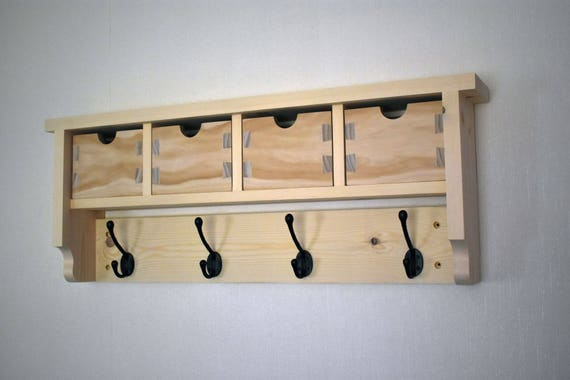 Wooden Coat Hook Rack With 40 Dovetail Boxes Coat Hook Shelf Etsy Unique Coat Hook Rack With Shelf