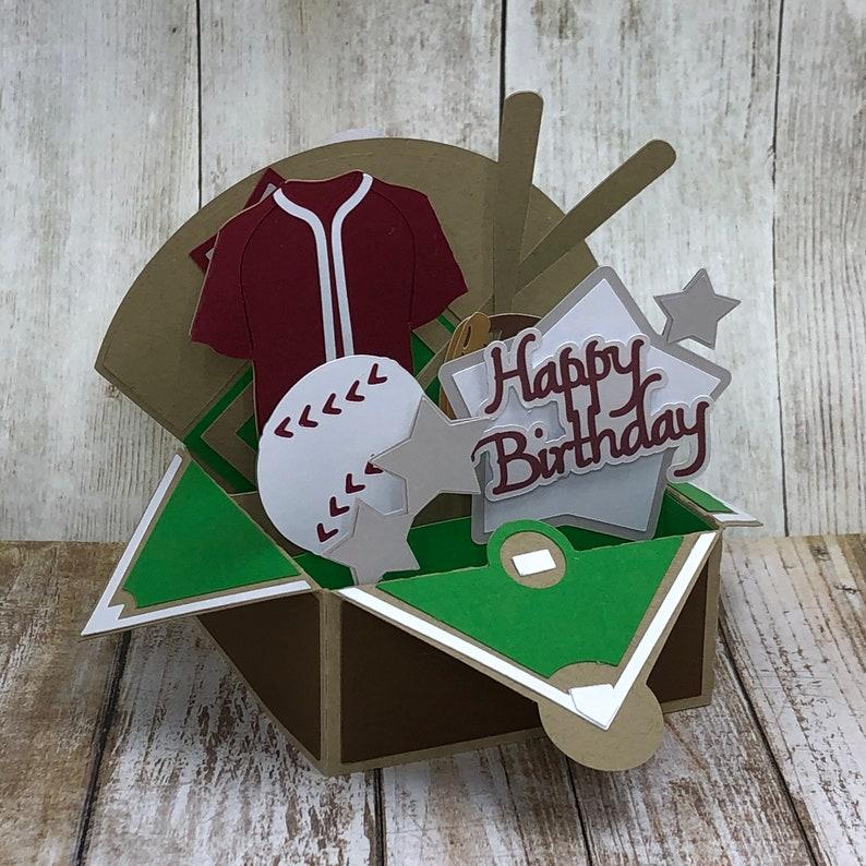 Birthday Card Fathers Day Card Unique 3d Box Card Baseball Pop Up Card Handmade Greeting Card Baseball Gift Card Holder