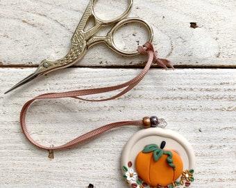 Beige pumpkin scissor fob, scissor keeper, crochet tools, gift for her, yarn gifts, embroidery scissor minder