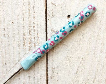 Thread crochet hook, polymer clay covered ergonomic crochet hook, tatting lace hook, animal print accessories, gift for her