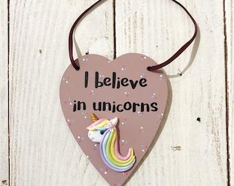 unicorn heart plaque, I believe in unicorns, hanging heart, rainbow unicorn plaque, girls room decor, new home, gifts for girls