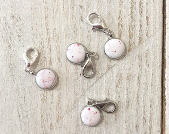 Paint splatter progress keepers, stitch markers, crochet supplies, pretty charms, polymer clay stitch marker, crochet markers, gift for her
