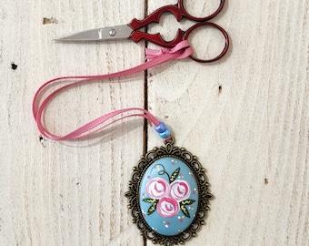 Large scissor fob, scissor keeper, flower scissor fob, painted rose fob, cross stitch gift, crochet accessories, crafty gift, vintage style