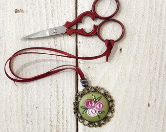 Rose scissor fob, scissor keeper, painted rose fob, cross stitch gift, crochet accessories, crafty gift, gift for her