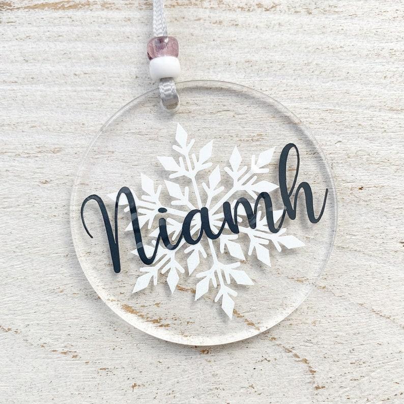 Personalised white snowflake bauble acrylic Christmas image 0