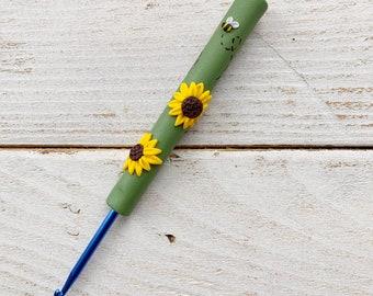sunflower crochet hook, crochet gifts, crochet needles, flower accessories