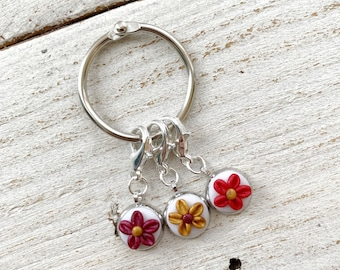 A hint of Christmas flower stitch markers, crochet progress keepers, yarn accessories, gift for her, stitch keepers