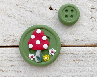Olive mushroom needle minder, needle keeper, sewing accessories, spotty toadstool, magnetic button needle holder