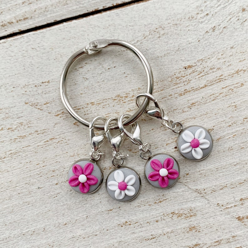polymer clay charms crochet progress keepers Pink and grey stitch markers gift for a crafter