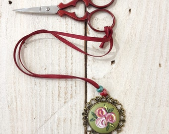 Vintage style scissor fob, scissor keeper, painted rose fob, cross stitch gift, crochet accessories, crafty gift