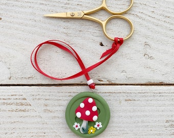 Mushroom scissor fob, scissor keeper, crochet tools, gift for her, photo props, cross stitch accessories