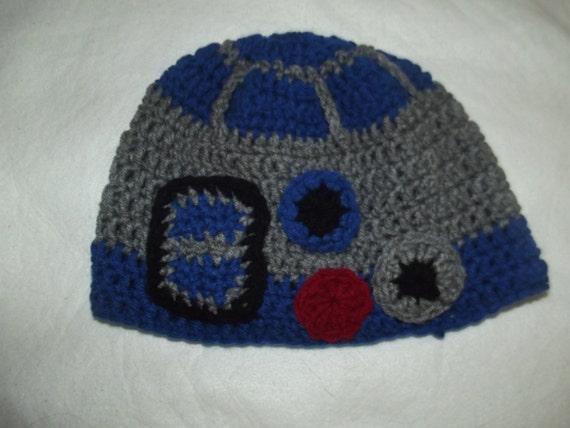 d26976a64d0 Handmade Crochet Star Wars R2D2 Beanie Hat Cap Adult size