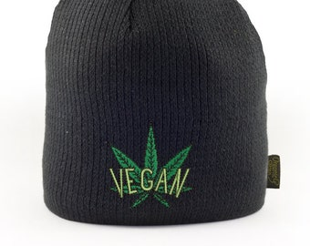 805d41d0 Vegan Cannabis Embroidered 100% Certified Organic Beanie   Vegan Hat, Vegan  Toque, Vegan Stoner