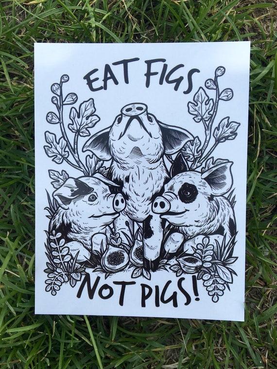 piuttosto fico a piedi a super carino 100% riciclato mangiare fichi diritti non maiali cartolina | Etsy