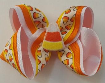 Candy Corn Bow, Candy Corn Hair Bow, Halloween Bow, Halloween Hair Bow, Halloween Candy Corn Bow, Halloween Photo Prop, Hair Bow, Fall Bow