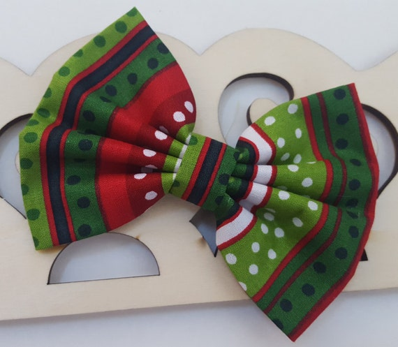 3 Bows red, green, striped Holiday Elf Bows