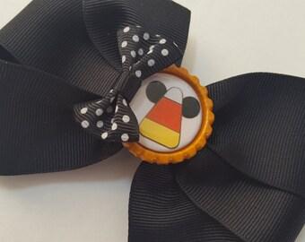 Mickey Halloween Hair Bow, Candy Corn Bow, Black and Orange Hair Bow, Bow for Halloween, Halloween Mickey Bow, Mickey Bow, Halloween Bow