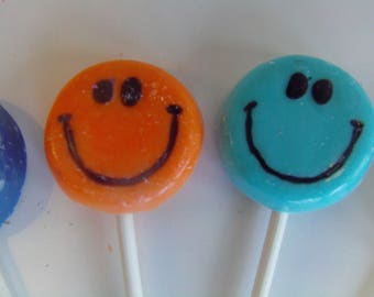 Smiley Happy Face Candy Lollipop Favors-Birthdays/Cupcake Toppers/70's/Hippy/Groovy Theme Parties/Get Well/Gift Boxes (12)