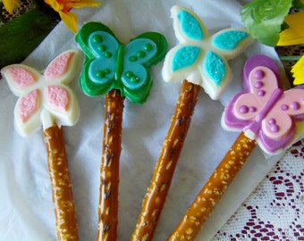 4 Beautiful Butterfly Pretzel Pops - Perfect Mother's Day, Weddings, Showers!  Can Customize The Colors!