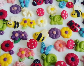 Fairy Garden Collection-Cake or Cupcake Toppers/Fairies/Unicorns/Bees/Mushrooms/Snails/Flowers/Ladybugs/Butterflies Candies