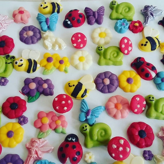 Fairy Garden Collection Cake Or Cupcake Toppers Fairies Unicorns Bees Mushrooms Snails Flowers Ladybugs Butterflies Candies