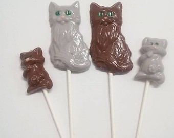 Cat Lover's Chocolate Candy Lollipops Personalized -Cat Theme Parties/Cat Lover Gift Box/Kitty Cat /Gift Vet/Petsitter (12)(6 Large/6 Small)