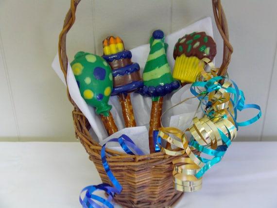 Birthday Candy BouquetPretzel Rod Bouquet Unique Basket 1st Gift Idea
