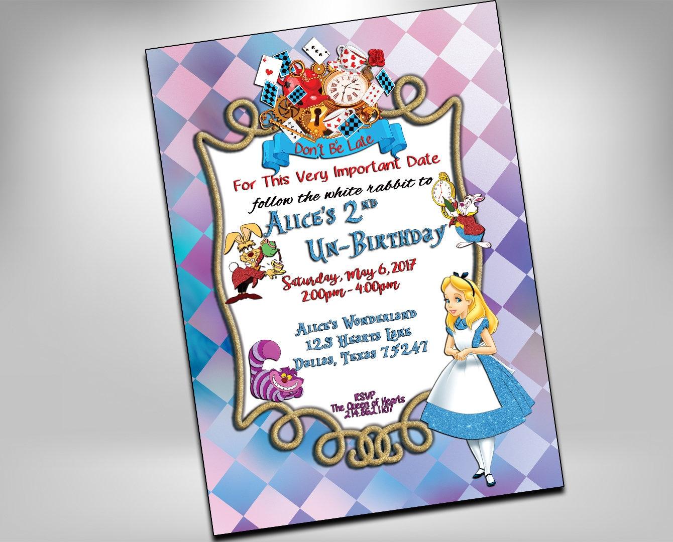 Alice in Wonderland Birthday Invitations Wonderland Invite | Etsy