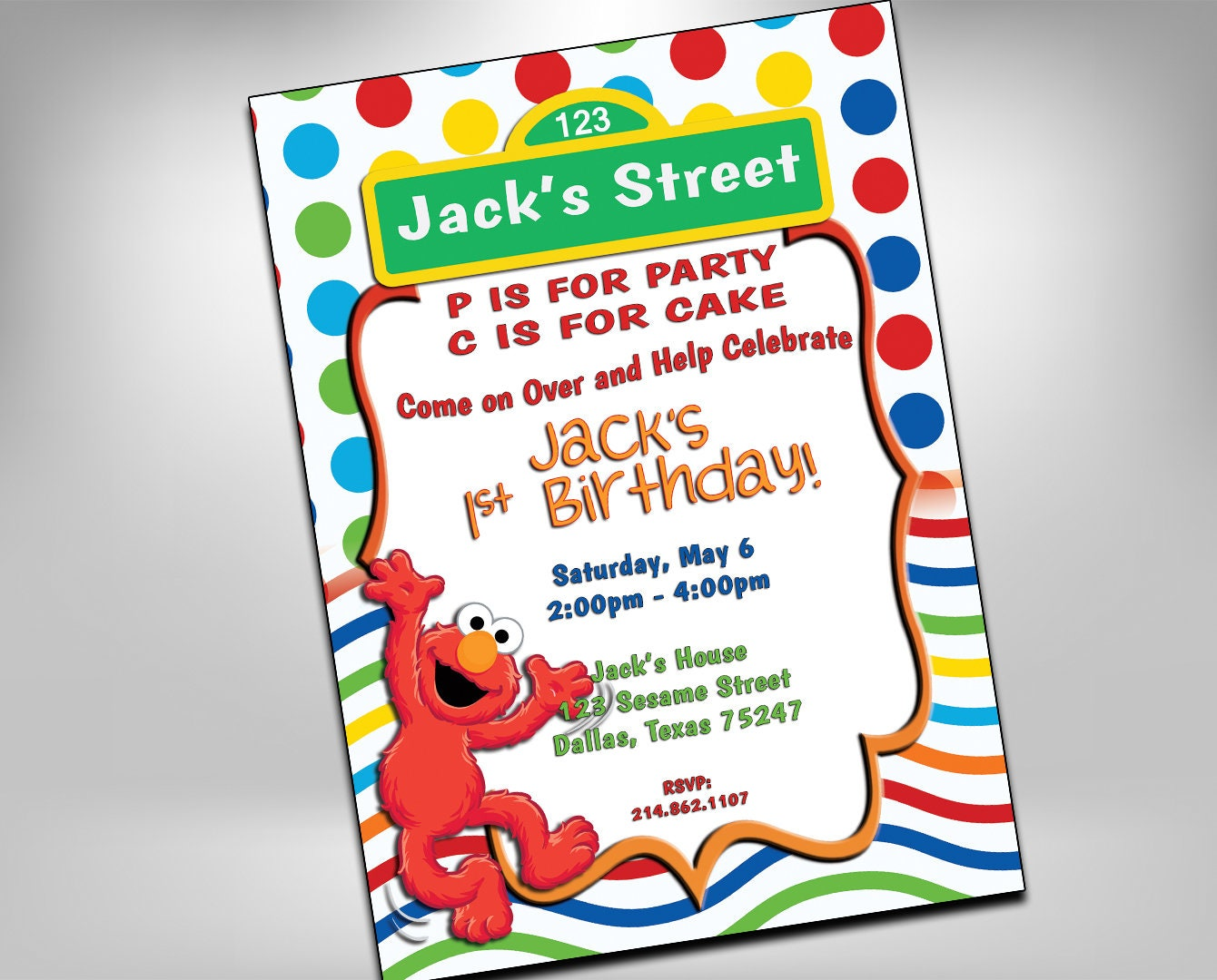 Elmo Birthday Sesame Street Invitation Elmo Birthday | Etsy
