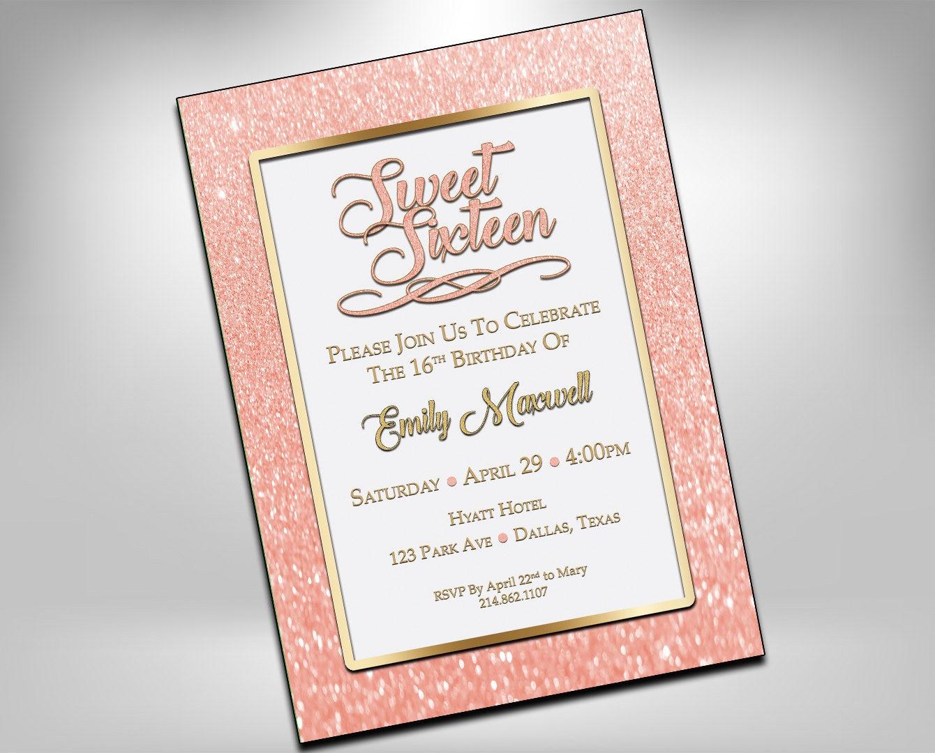 Sweet 16 Birthday Invitations Sweet Sixteen Invites 16th | Etsy