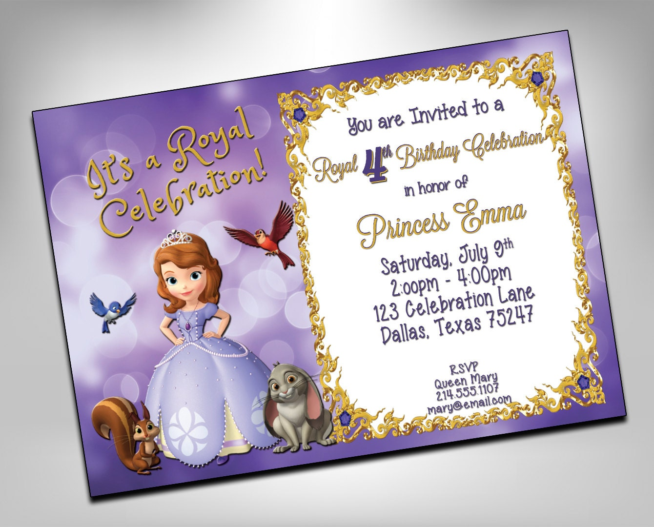 SOFIA the FIRST Birthday Invitation Princess Party Purple | Etsy