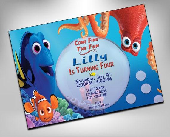 Finding Dory Finding Nemo Invitation Dory Birthday Invites Etsy