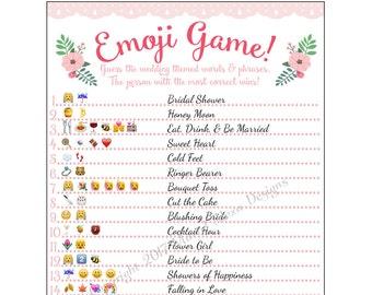 Bridal Shower Emoji Game  - Fun Unique Games DIY PDF Wedding Personalized Watercolor Pink Floral Garden Flower Theme Emoticon Pictionary