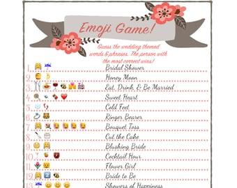 Bridal Shower Emoji Game  - Fun Unique Games DIY PDF Wedding Personalized Coral Flower Floral Theme Emoticon Pictionary