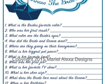 bridal shower game how well do you know the bride nautical theme fun unique games diy pdf wedding personalized instant download