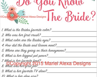 bridal shower game how well do you know the bride fun unique games diy pdf wedding personalized watercolor pink floral garden theme