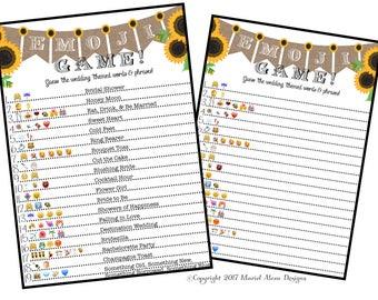 Bridal Shower Emoji Game  - Fun Unique Games DIY PDF Wedding Personalized Sunflower Wood Burlap Rustic Theme Emoticon Pictionary