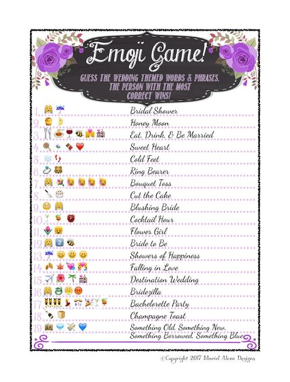 Bridal Shower Emoji Game Fun Unique Games Diy Pdf Wedding Etsy