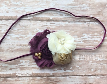 Plum headband, Fall headband, eggplant headband, purple headband, Thanksgiving headband, newborn headband, baby headband photo prop
