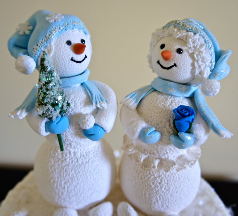 Snowman Cake Topper. Bride and Groom Wedding Cake image 0